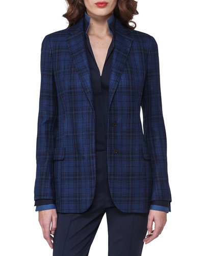 Plaid Silk-Cotton Two-Button Jacket, Dark Blue
