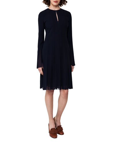 Bell-Sleeve Silk Georgette Plissé Dress, Blue