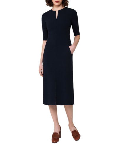 Half-Sleeve Wool Midi Dress