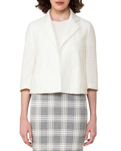 Check-Embroidered 3/4-Sleeve Cropped Jacket, Off White