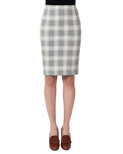 Check Jacquard Pencil Skirt, Off White