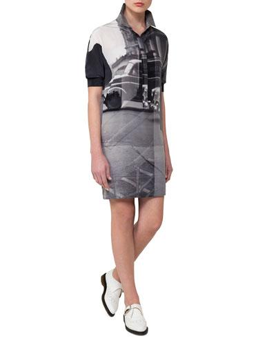 Three Women Short-Sleeve Silk Polo Dress, Black