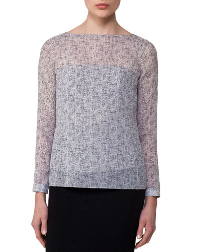 Spotted Silk Layered Boat-Neck Blouse, Off White
