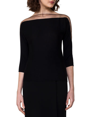 Tulle-Trim Boat-Neck Pullover, Black