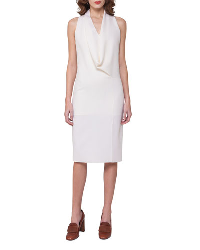 Sleeveless Drape-Front Dress, Off White