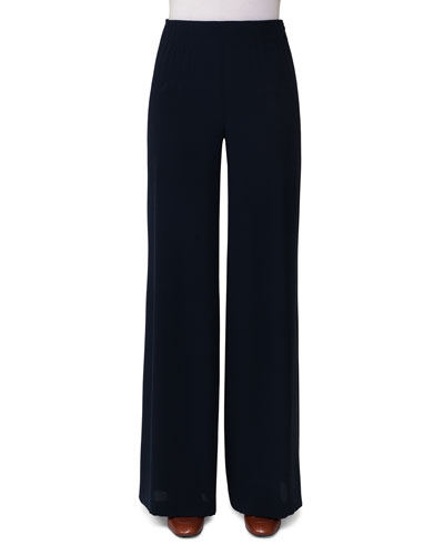 Silk Georgette Wide-Leg Pants, Dark Blue