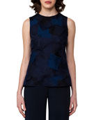 Sleeveless Patchwork Petal Organza Blouse, Dark Blue