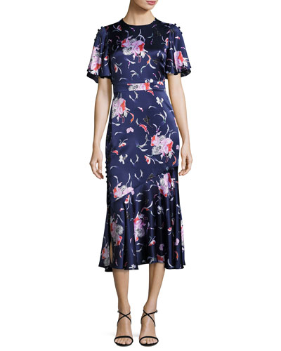 Flutter-Sleeve Floral Silk Satin Midi Dress, Blue