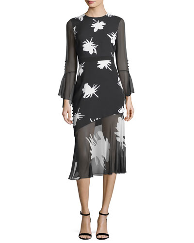 Floral-Print Long-Sleeve Midi Cocktail Dress