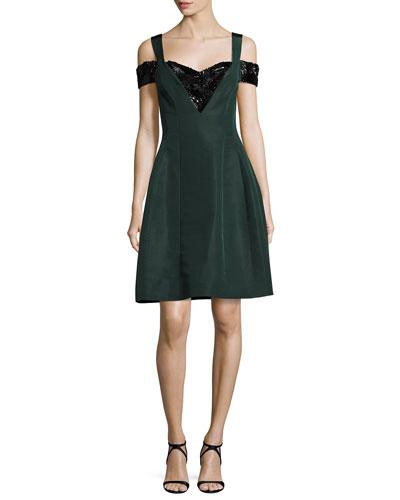 Cold-Shoulder Beaded Fit & Flare Dress, Green