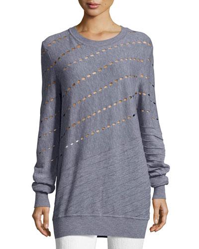 Diagonal Cutout & Seam Merino Wool Sweatshirt, Gray