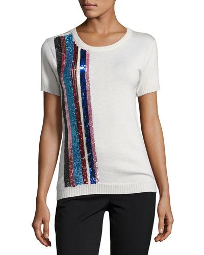 Sequined-Stripe Cashmere-Silk Short-Sleeve Sweater, Ivory