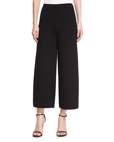 Knit Cropped Straight-Leg Pants, Black