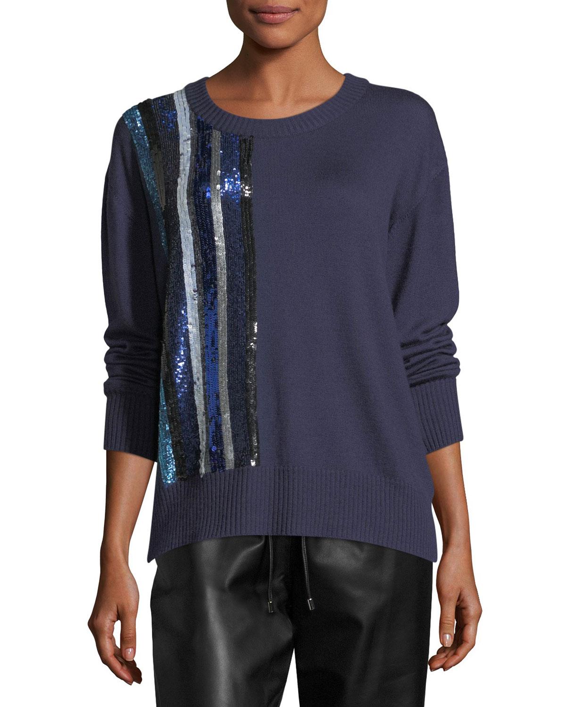 Sequined Cashmere Crewneck Sweater