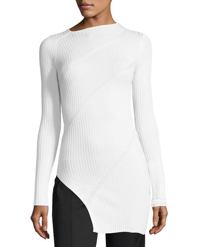Ribbed Silk Asymmetric Top