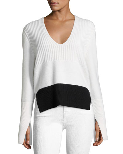 Mixed-Knit V-Neck Sweater, White/Black