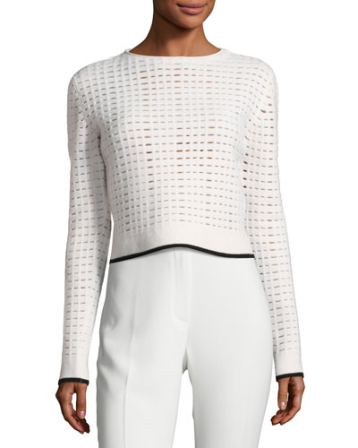 Grid-Knit Cropped Sweater with Contrast Tipping, White/Black