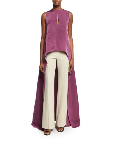 High-Low Sculpted Silk Drape-Back Top, Pink