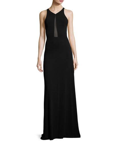 Sleeveless Sheer-Inset Cady Gown, Black