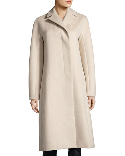 Wool-Cashmere Single-Breasted Coat, Camel