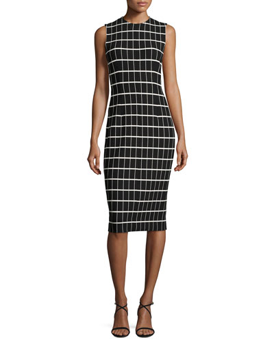 Windowpane Jacquard Sleeveless Sheath Dress, Black/White
