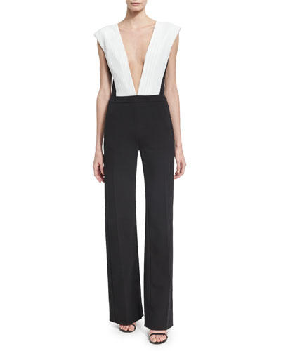 Plunging V Plisse-Paneled Wide-Leg Jumpsuit, Black/White