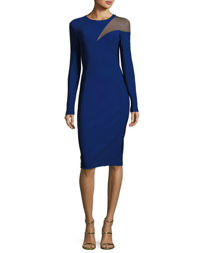 Tulle-Inset Long-Sleeve Sheath Dress