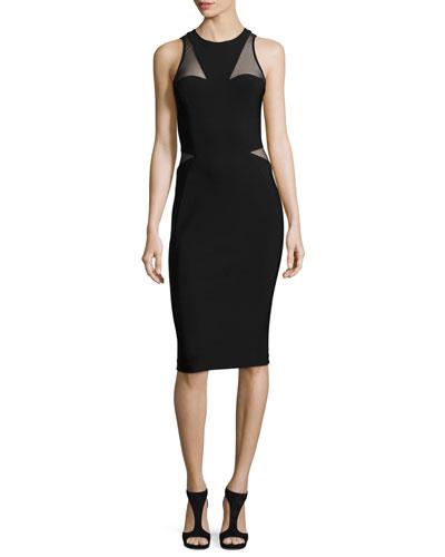 Sleeveless Tulle-Inset Sheath Dress