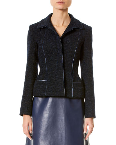 Wool-Blend Jacket w/Metallic Piping, Black/Blue