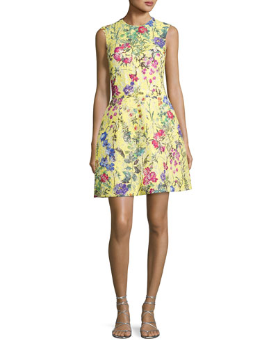 Structured Floral Lace Cocktail Dress, Yellow