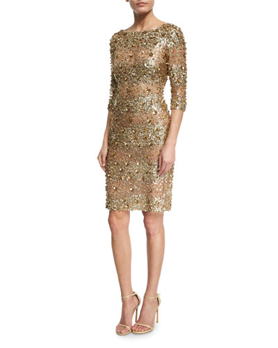 Beaded 3/4-Sleeve Fitted Cocktail Dress, Gold