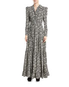 Floral Cr&#234pe de Chine Maxi Dress, Black/White