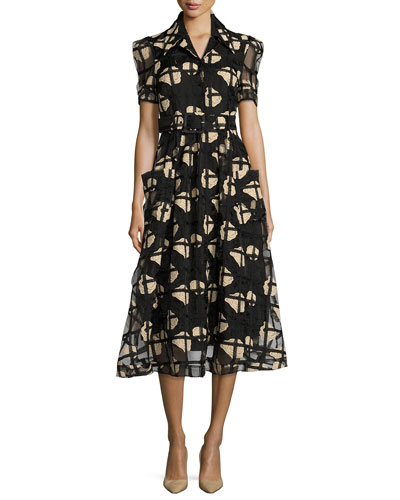 Floral Cage Lace Midi Shirtdress, Black