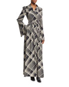 Plaid Hammered Silk Belted Maxi Shirtdress, Black/Off White