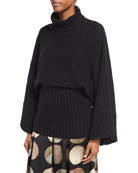 Bell-Sleeve Turtleneck Sweater with Wide Hem