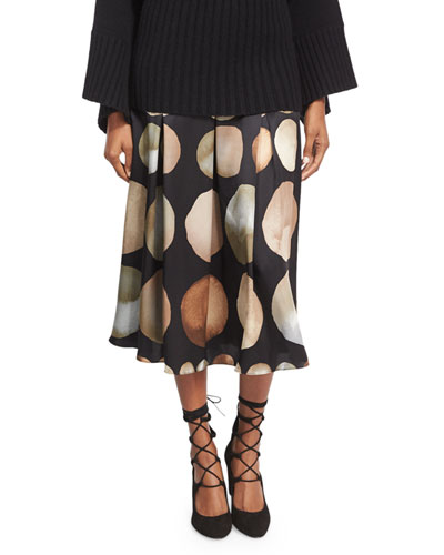 Lunar-Print Knife-Pleat Silk Midi Skirt