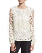 Long-Sleeve Pebble Lace Blouse, Ivory