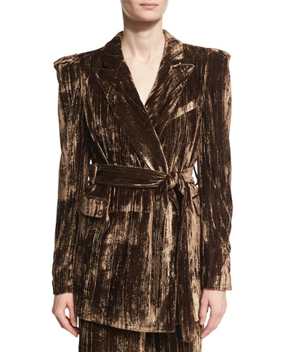 Long Metallic Crinkle-Velvet Blazer, Brown
