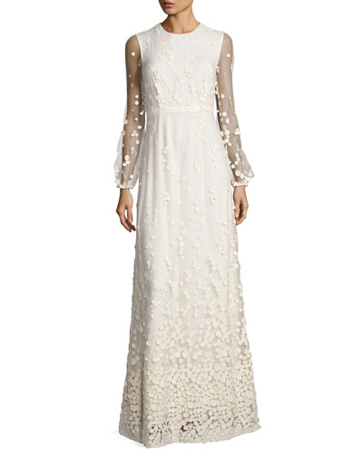 Pebble Lace Long-Sleeve Column Dress, Ivory