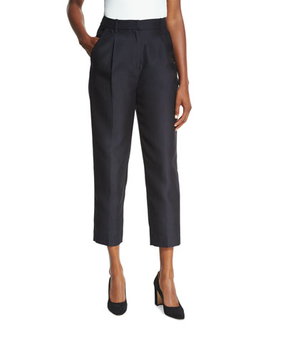Classic Single-Pleat Cropped Trousers, Black