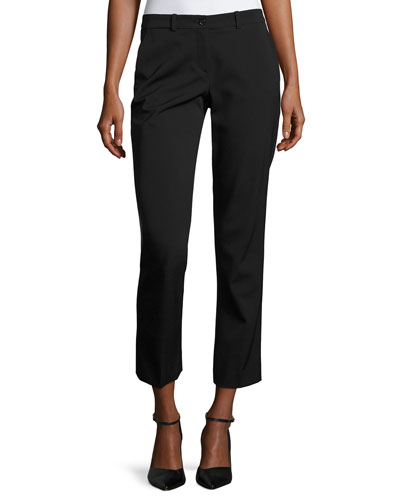 Samantha Cropped Straight-Leg Pants, Black