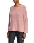 Tie-Back Bell-Sleeve Sweater, Rose (Medium Pink)