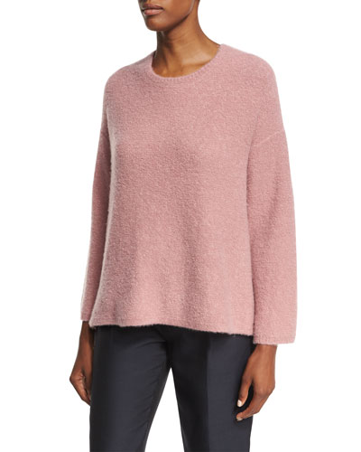 Tie-Back Bell-Sleeve Sweater, Rose (Medium Pink)