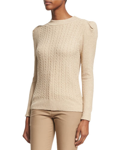 Metallic Cable-Knit Puff-Sleeve Sweater, Gold