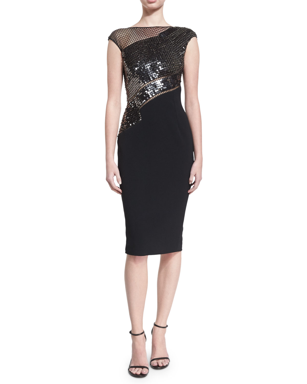 Beaded Grid Cap-Sleeve Cocktail Dress, Black