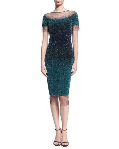 Ombré Sequined Illusion Cocktail Dress, Green/Blue
