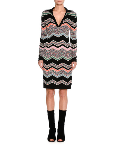 Collared Long-Sleeve Space-Dyed Zigzag Dress, Black