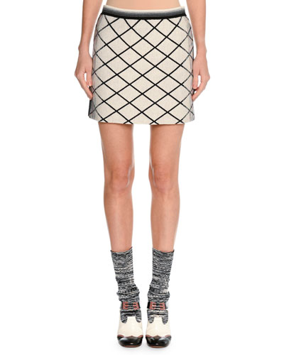Check DÉGradÉ Jacquard Miniskirt, Beige/Black in White