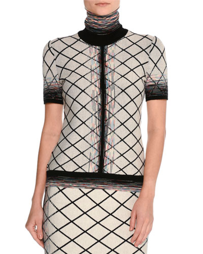 Short-Sleeve Check Jacquard Turtleneck Top, Beige/Black