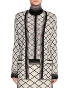 Check Jacquard Open-Front Cardigan, Beige/Black